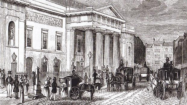 The front of Covent Garden Theatre, c.1847.