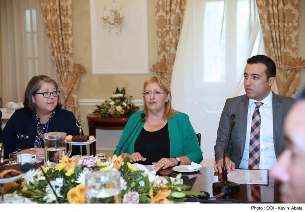 President Marie-Louise Coleiro Preca (centre), flanked by President's Foundation for the Wellbeing of Society director general Ruth Farrugia and Agriculture Parliamentary Secretary Clint Camilleri, addresses a roundtable meeting for farmers. Photo: DOI, Kevin Abela.