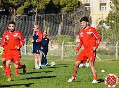 Aidan Friggieri (left) and Marcus Grima during Malta's training session. Photo: Malta FA