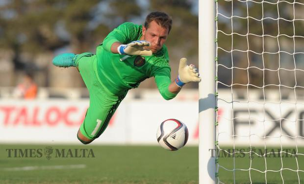 Belgium goalkeeper Davy Roef saves a shot during their UEFA U-21 Championship match against Malta at the Hibernian's Stadium in Paola on September 2. Photo: Matthew Mirabelli