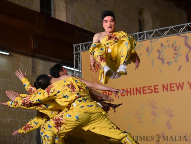 A performer from China's Zhejiang Wu Opera Troupe does a summersault on stage during the Chinese new year celebrations held in Valletta on February 14. Photo: Mark Zammit Cordina
