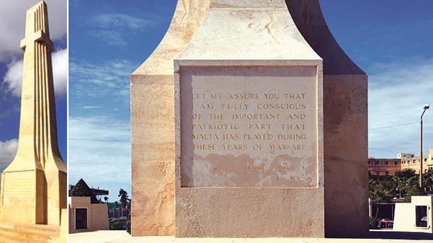 One of the four sides of the war memorial, Floriana. At the base of the stonework is reproduced an extract from the citation of King George V. Right: A close-up of the inscription on the war memorial featuring King George V's message to Lord Methuen.