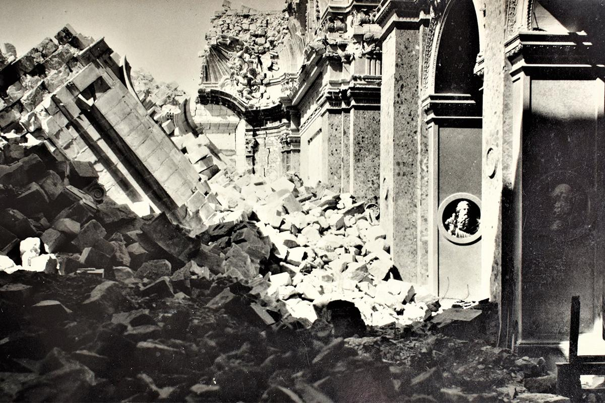Victory church, Senglea, after a direct hit by enemy action in World War II. Photo: Alfred Vella Gera