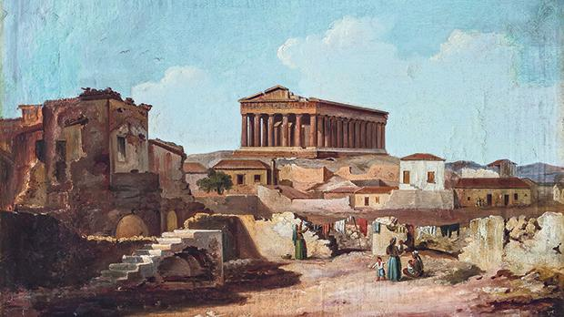 Three signed Athens works are dated 1832, just after Greece won its war of independence. Hordes of artists flocked to Greece painting an imaginary idyll. Antonio Schranz painted the misery he saw: extensive ramshackle foregrounds, dusty and dirty, presaging Courbet's and Millet's realism of 18 years later.