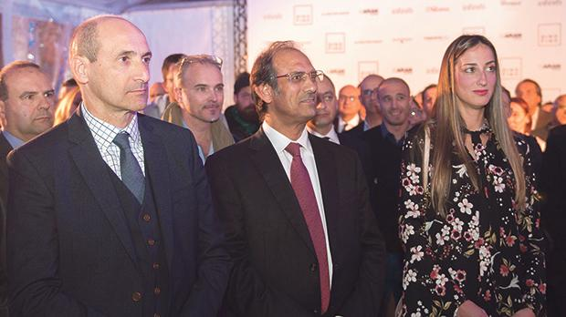 Health Minister and Deputy Prime Minister Chris Fearne, Majid Al Sadi and Claire Fino.