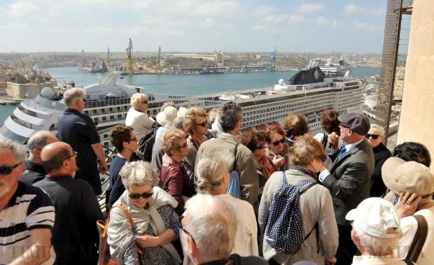 Tourists visit the Upper Barrakka in Valletta on April 20. Photo: Chris Sant Fournier