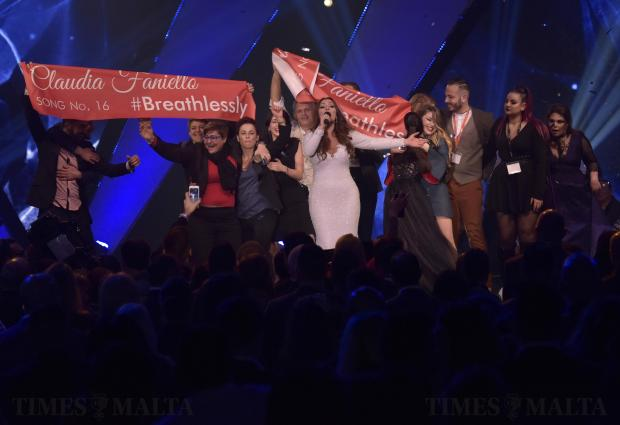 This years winner of the Malta Eurovision song contest Claudia Faniello, sings her winning song Breathlessly on stage with friends at the MFCC in Ta' Qali on February 18. Photo: Mark Zammit Cordina