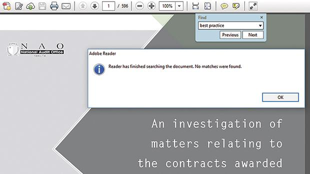 A computer search of the 596 page Auditor General report did not yield any hits for the words 'best practice'.