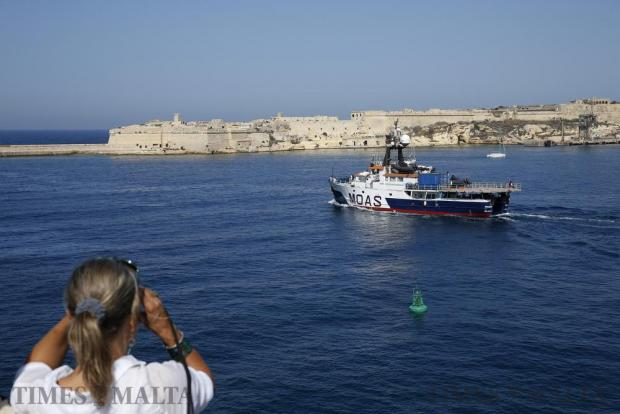 The Migrant Offshore Aid Station (MOAS) ship MV Phoenix leaves Valletta's Grand Harbour for the start of its summer search and rescue operations in the central Mediterranean on June 6. Photo: Darrin Zammit Lupi