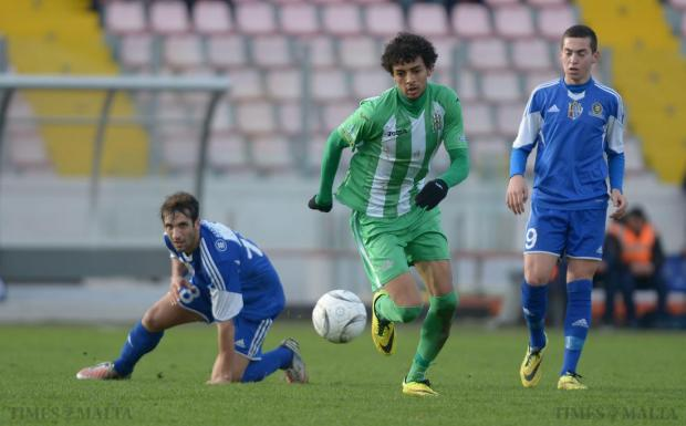 Floriana's Emerson Marcelina breaks through the Mosta defence during their Premier League match at the National Stadium in Ta'Qali on January 24. Photo: Matthew Mirabelli