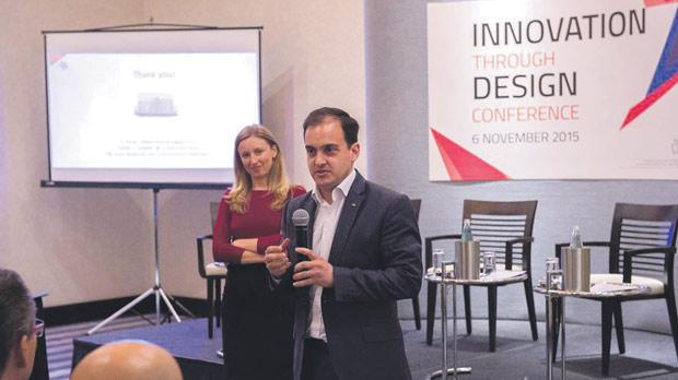 Karl Grech at the MBB Innovation Through Design Conference, with Ana Vella from MBB.