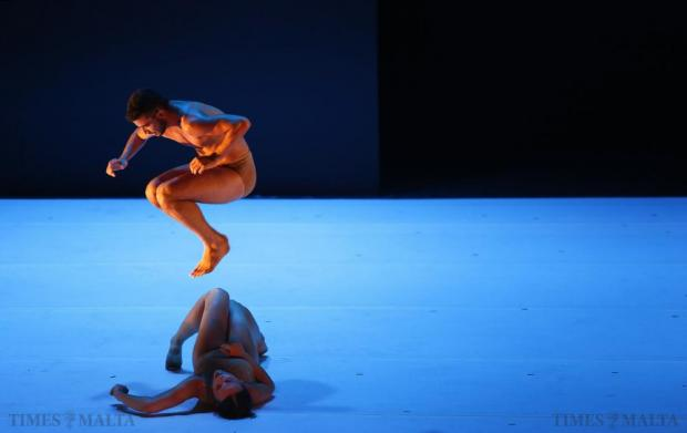"""Dancers of the Kibbutz Contemporary Dance Company of Israel perform in """"If At All"""", choreographed and designed by Rami Be'er, during the Malta International Arts Festival at Argotti Gardens in Floriana on July 11. Photo: Darrin Zammit Lupi"""