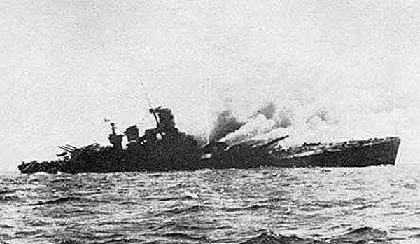 The Roma sinking after 'B' turret was blown off when a magazine was hit.
