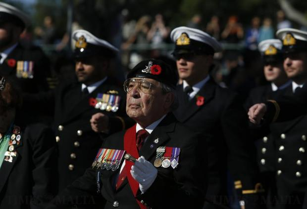 British military veterans take part in the Remembrance Sunday ceremony at the war memorial cenotaph in Floriana on November 13. Photo: Darrin Zammit Lupi