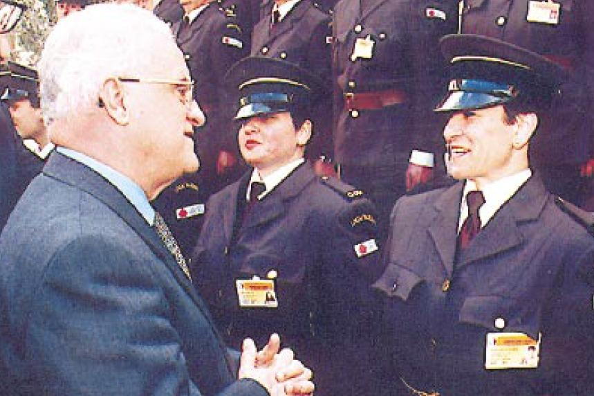 Former prime minister Eddie Fenech Adami chatting with Fortunata Spiteri (right) during a ceremony back in 2000 marking the inauguration of the local warden service.