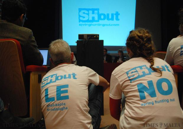 Two people listen to former Birdlife Malta president Joseph Mangion at the launch of the Anti spring hunting referendum campaign at St James Cavalier on January 17. Photo: Mark Zammit Cordina