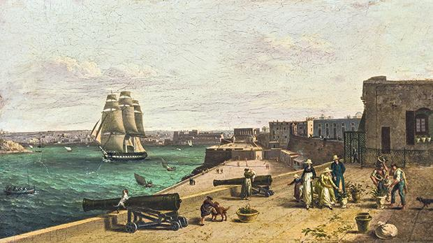 For two years, this tiny work's seemingly unfortified harbour with figures in Menorcan costumes was thought to be Menorca. Projected on a large screen, it was unmistakably the Grand Harbour, and the Menorca costumes were understood: Anton Schranz painted a family portrait, showing his family's arrival.