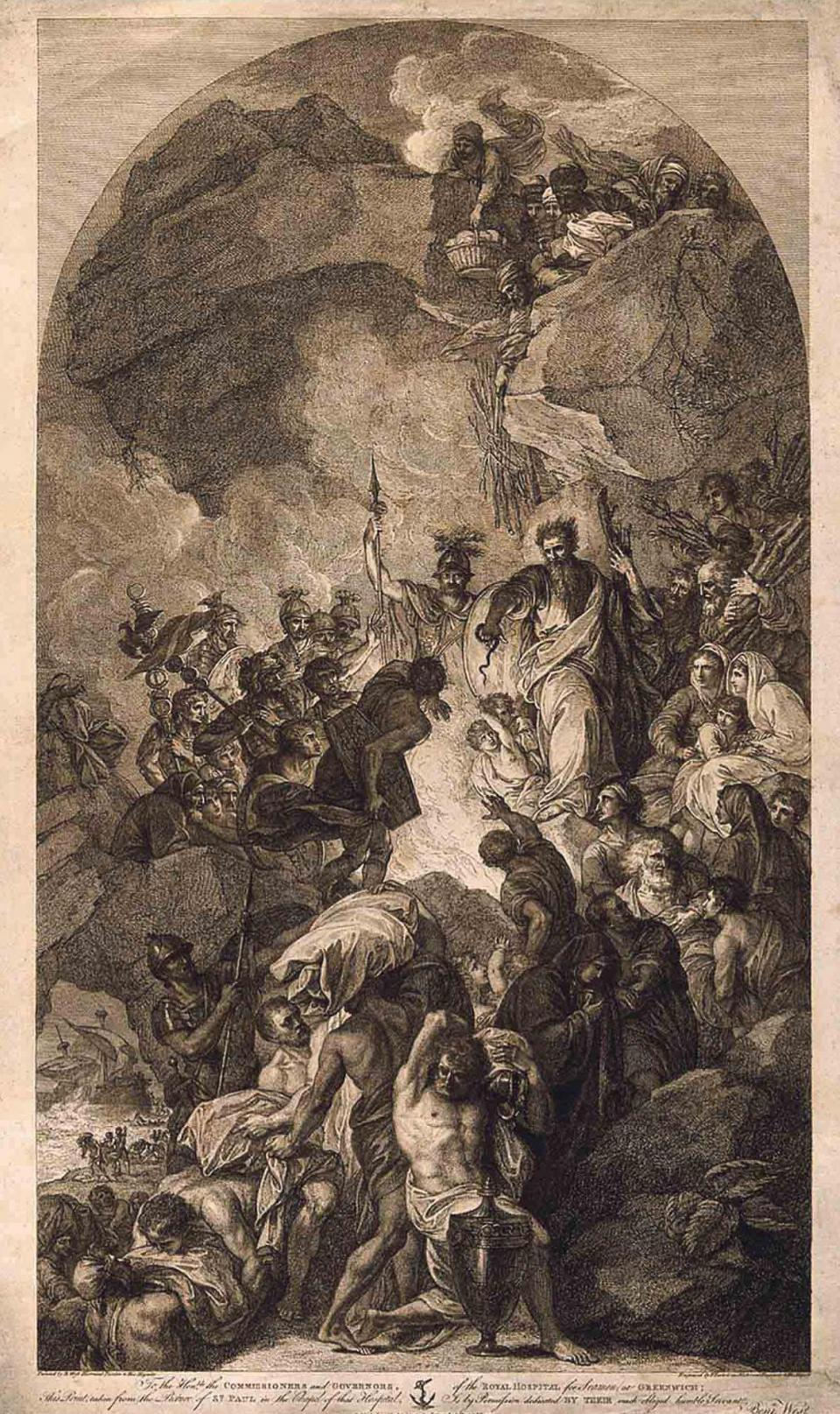 Saint Paul Shipwrecked on Malta, a 1791 etching by Francesco Bartolozzi, inspired by Benjamin West's painting in the Old Royal Naval College chapel at Greenwich. Photo: Wellcome Collection, Courtesy of Tania Williams
