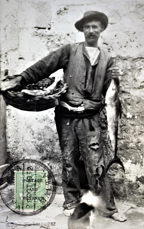 A fishmonger in Gozo, 1910s. Photo: Michele Farrugia