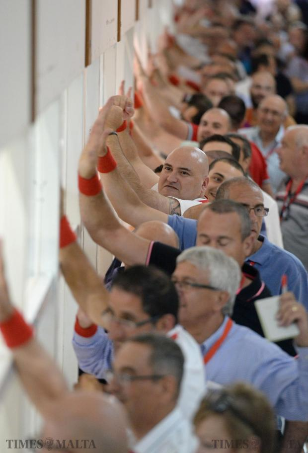 Malta Labour counting agents celebrate at the counting hall in Naxxar, after early indications point to another victory. Photo: Matthew Mirabelli