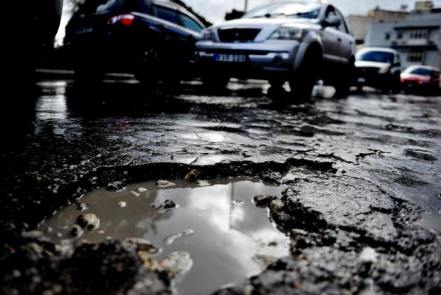 New potholes have appeared in streets all around Malta following the heavy rainfall of the recent days. Photo taken January 24. Photo: Jason Borg