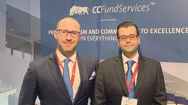 Nick Calamatta (left) and Stephen Gauci Baluci at the CCFS stand during the Lantern Fund Forum.