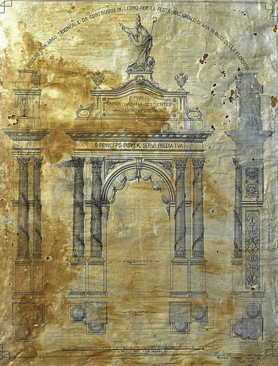 The original drawing of the triumphal arch of St Publius in Floriana, which was made by Giorgio Cassar in the 1890s.