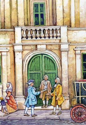 Another Apap watercolour showing Pace and M.A. Vassalli receiving a Maltese courier with a letter at Palazzo Spinelli in 1796.