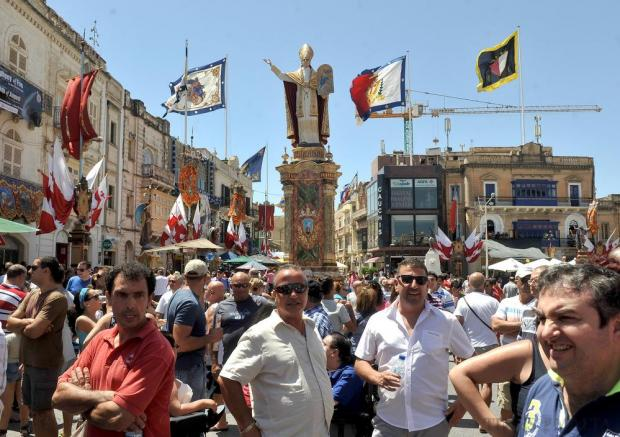 People gather in the Mosta square during the Santa Marija Feast on August 15. Photo: Chris Sant Fournier