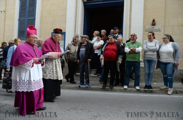 Archbishop Charles Scicluna joins the procession of San Girgor in Zejtun on April 4. Photo: Matthew Mirabelli