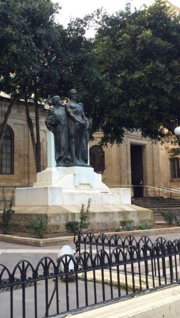 The monument after flowers and pictures were removed.