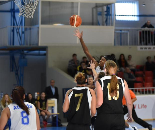 Gżira's Amelia Simmons goes for the basket against Hibs in a game held at the Basketball Pavilion in Ta Qali on November 19. Photo: Mark Zammit Cordina