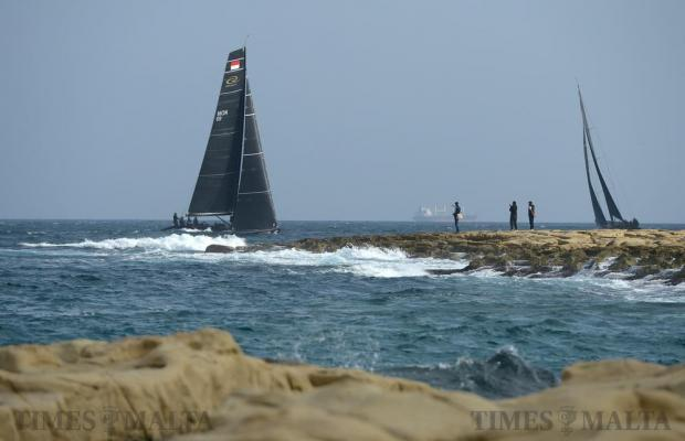 Sailing boats battling it it out against each other pass close to the Sliema coast in the RC44 Fleet Racing Championship on November 24. Photo: Matthew Mirabelli