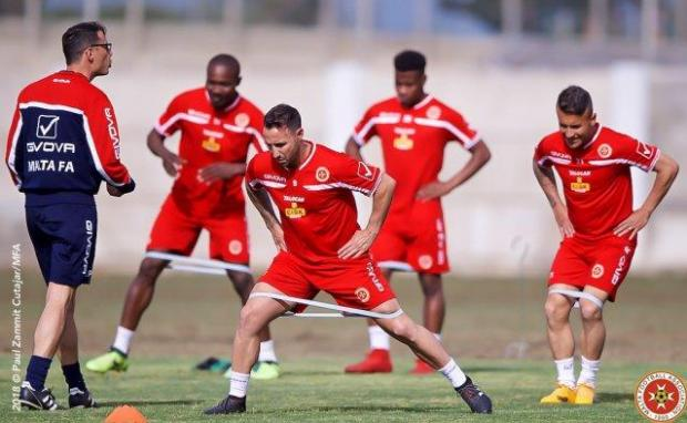 Malta national team during Thursday's training session at the Ta' Qali training grounds.