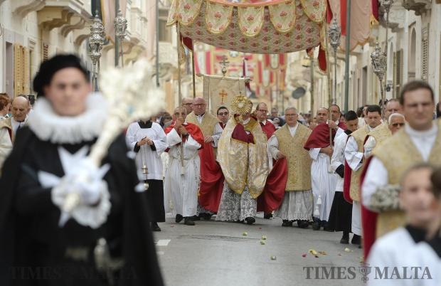 The Corpus Christi procession makes its way through the streets or Rabat on June 18. Photo: Matthew Mirabelli