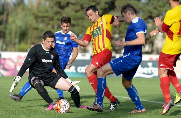 Birkirkara captain Gareth Sciberras (centre) during an attack inside NK Siroki Brijeg's box during their Europa League second leg match at the Hibernians Stadium in Corradino on July 5. Photo: Matthew Mirabelli