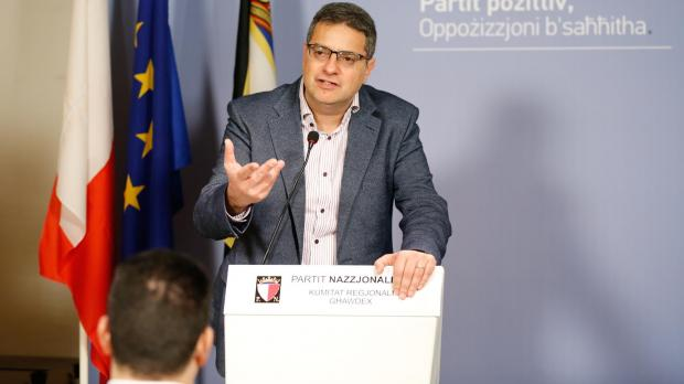 The PL had a dig at Adrian Delia's tax arrears. Photo: PN
