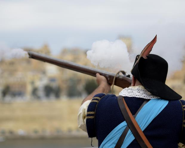 A re-enactor shoots his medieval gun during an open day held in St Elmo Vittoriosa on September 08. Photo Mark Zammit Cordina