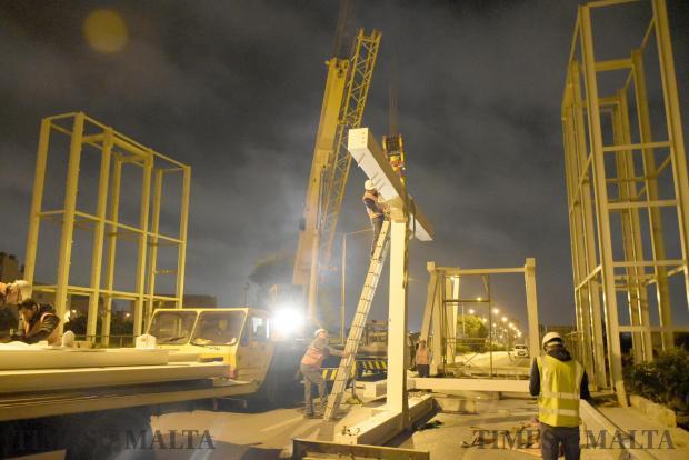 Workers start to assemble a footbridge in Mriehel on April 25. Photo: Mark Zammit Cordina