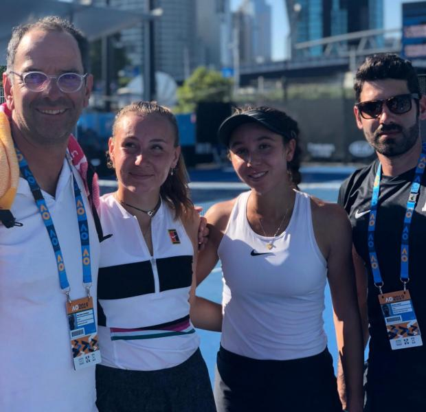 Francesca Curmi (second right) with Loudmilla Bencheikh and coach Matthew Asciak (right).