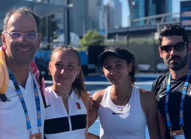 Francesca Curmi (second right) and Loudmilla Bencheikh are just one win away from reaching the Australian Open juniors final.