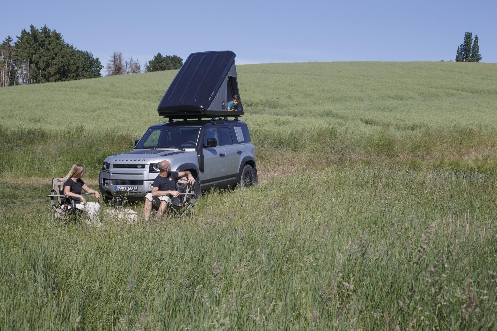 The tent is bespoke to the Defender.