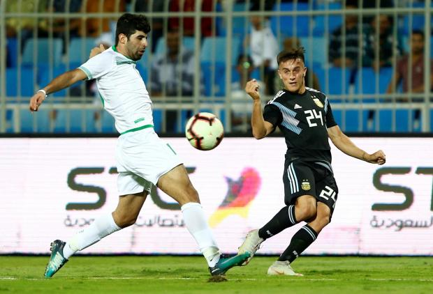 Argentina's Franco Cervi delivers a cross against Iraq.