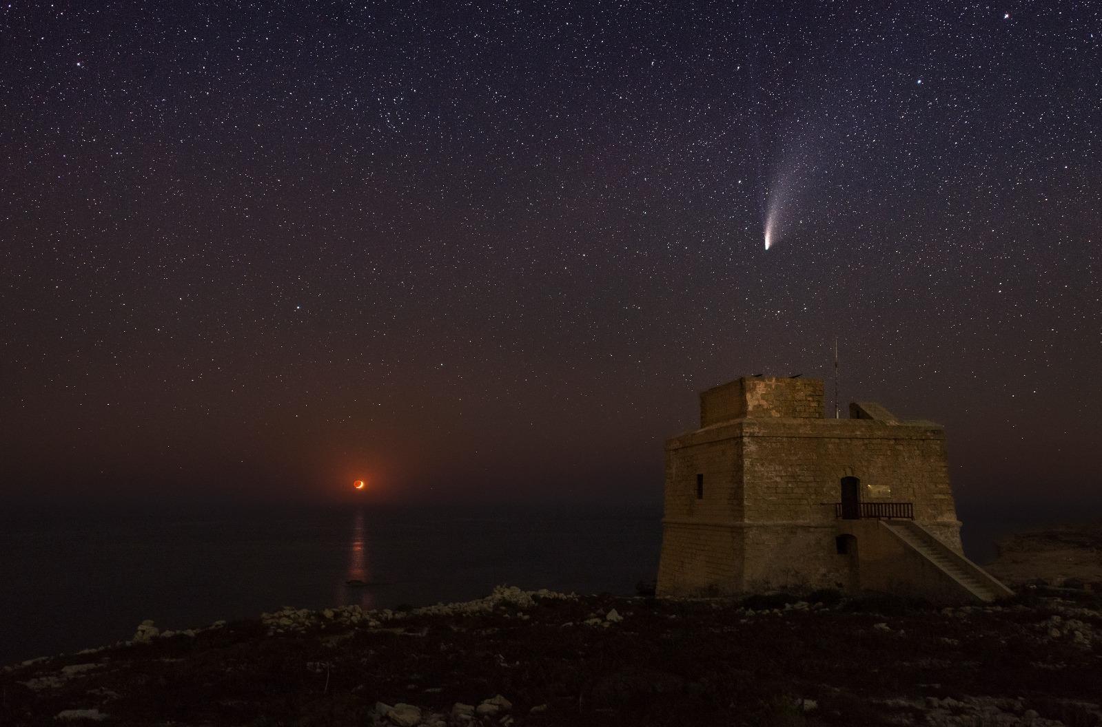 An image of Comet C/2020 F3 (NEOWISE) captured from Dwejra, Gozo. Photo: Joseph Caruana