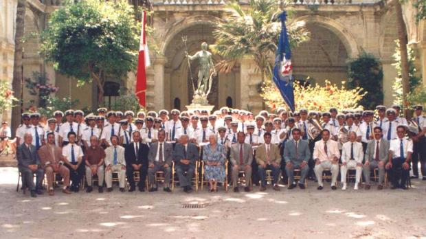 The Sliema Band committee and members with Dr Tabone at the Palace.