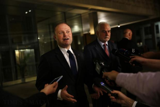 Prime Minister Joseph Muscat makes a press statement outside parliament in Valletta on April 18, after defeating a no-confidence motion in his government which was called by the opposition after his failure to sack two high-ranking members of his government who were named in the Panama Papers leak scandal. Photo: Darrin Zammit Lupi