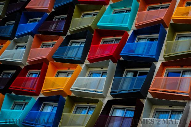 An number of colourful balconies forming part of the Holiday Inn express on September 20. Photo: Jonathan Borg