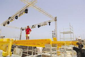 Work on the stage at Manoel Island that will host Bob Geldof, among other foreign and local bands and musicians, is being finalised. Photo: Matthew Mirabelli