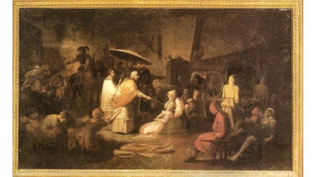 A painting by Pietro Paolo Caruana (1794-1852) at the National Museum of Fine Arts, Valletta, depicting the dreadful events of the Plague of 1813. The priest in the centre is administering Holy Communion to an infected girl, using a long handled spoon, while the soldiers on horseback try to enforce quarantine on the unfortunate victims.