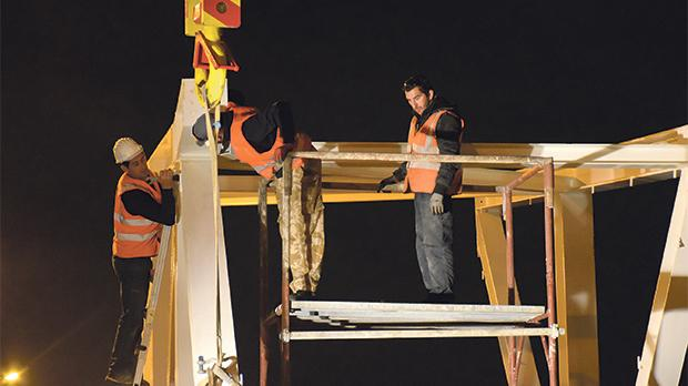 Steel Structures Ltd workers went through two nights of toil as the Mrieħel bridge project is expected to be completed by June.
